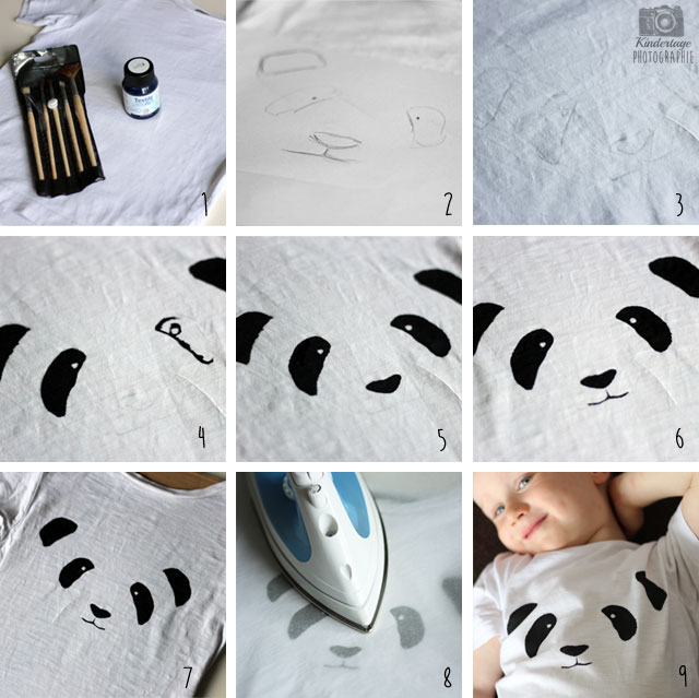panda print t shirt diy kindertage. Black Bedroom Furniture Sets. Home Design Ideas